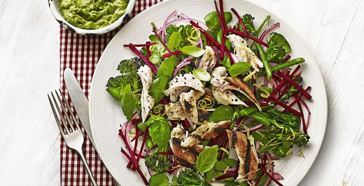Spring chicken and broccoli super food salad with avocado pesto