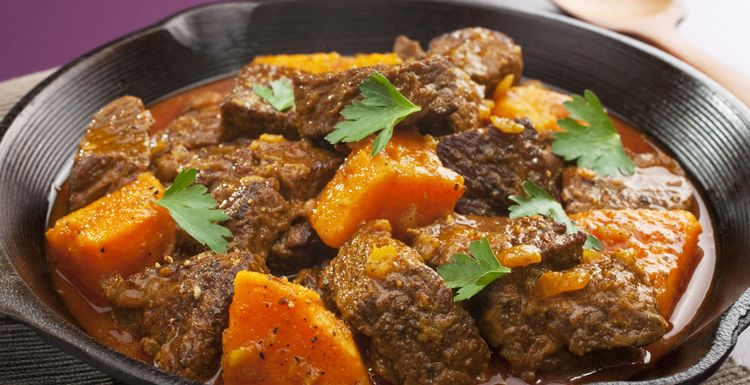 Ginger beef, chard and sweet potato stew