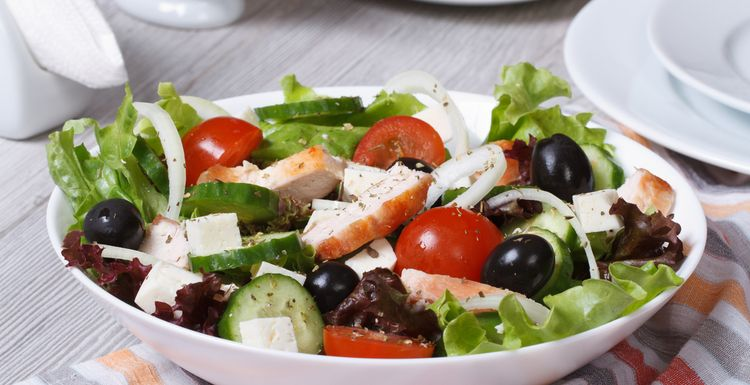 Greek salad with quick griddled chicken - high protein meal