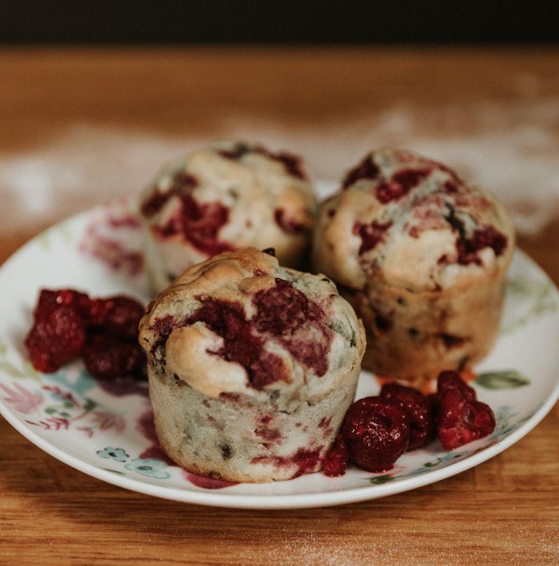Healthier raspberry muffins